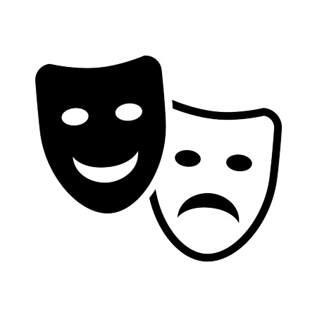 Drama and comedy acting masks flat icon Illustration