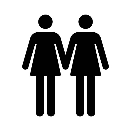 homosexual sex: Gay marriage lesbian flat icon for apps and websites