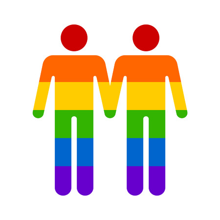 sex discrimination: Gay marriage rainbow homosexual flat icon for apps and websites