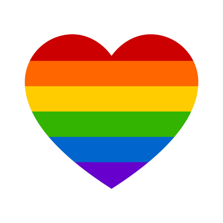 discrimination: Gay marriage rainbow heart flat icon for apps and websites
