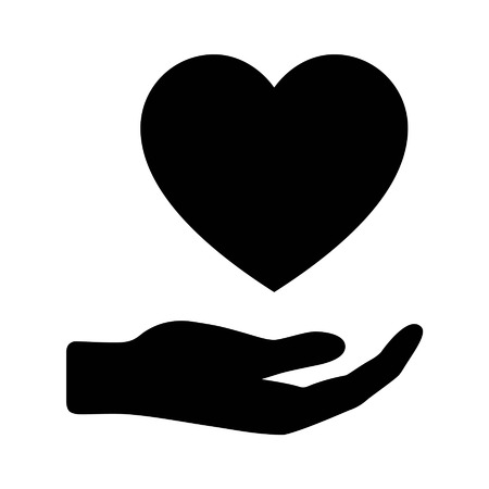 Hand holding and give love flat icon for apps and websites