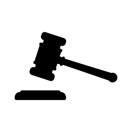 Gavel, the hammer of law and justice flat icon Ilustrace