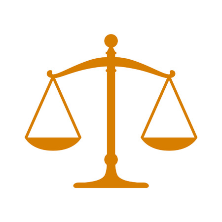 attorney scale: Golden scales of justice flat icon Illustration