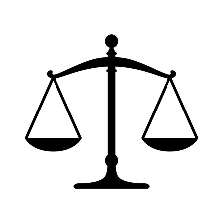 convicted: Scales of justice flat icon for apps and websites Illustration