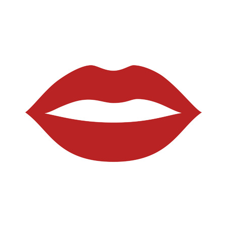 smooch: Red kiss lips flat vector icon for apps and websites