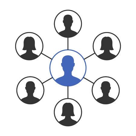 social icon: Social networking group flat icon for apps and websites Illustration