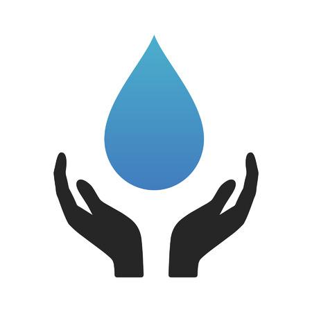 conservacion del agua: La conservación del agua - ahorrar agua - icono plana para aplicaciones y sitios web Vectores