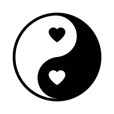 opposites: Ying yang love icon - opposites attract