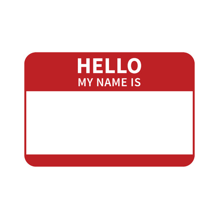 name tag: Hello, my name is introduction red flat label