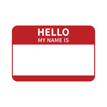 etiqueta: Hola, mi nombre es etiqueta plana roja introducci�n