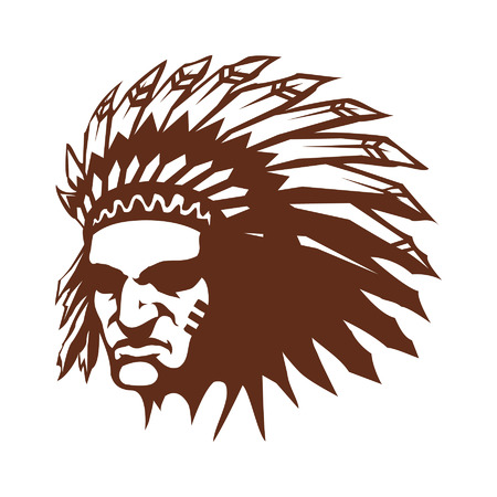 indian chief mascot: Native American Indian chief with feather headdress vector icon Illustration