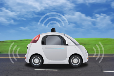car safety: Autonomous self-driving driverless vehicle with radar driving on the road