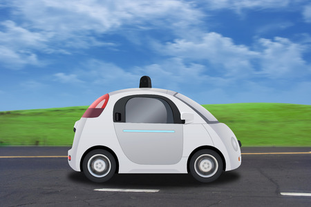 eco car: Autonomous self-driving driverless vehicle driving on the road