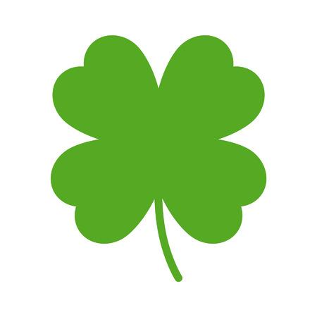 buena suerte: Buena suerte de cuatro hojas del trébol icono plana para aplicaciones y sitios web Vectores