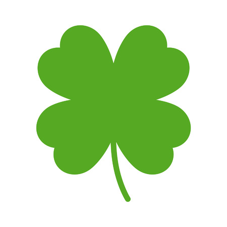 lucky clover: Good luck four leaf clover flat icon for apps and websites