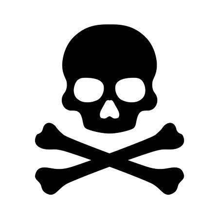 Crossbones and skull death flat icon