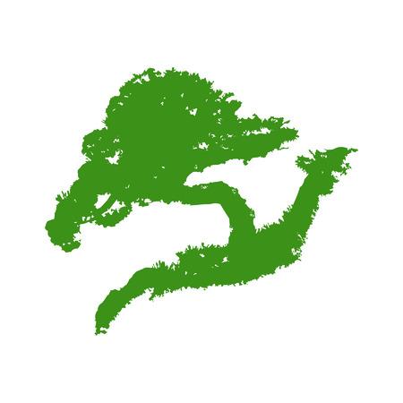 pine tree isolated: Bonsai mini tree silhouette flat icon for websites