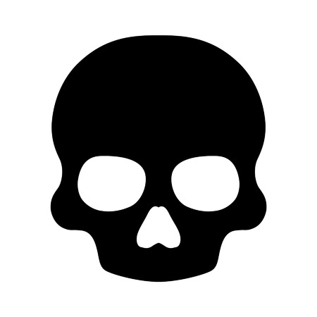 vector skull danger sign: Death skull flat icon for apps and websites