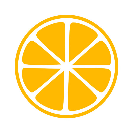 Lemon citrus half slice flat icon for apps and websites