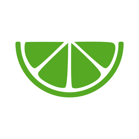 Lime citrus slice flat icon for apps and websites