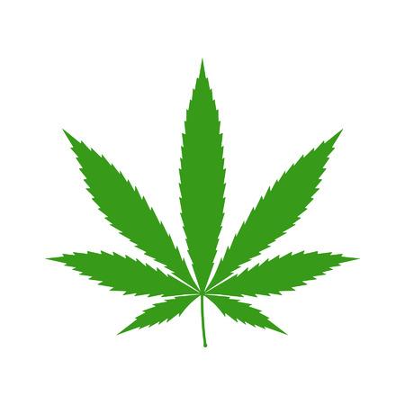 feuilles: Cannabis marijuana feuille de chanvre icône plat pour les applications et sites Web Illustration