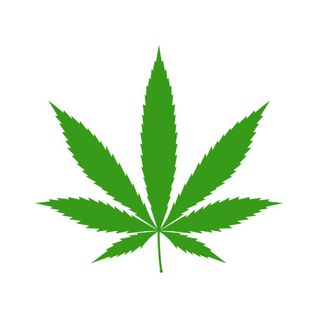 marijuana plant: Cannabis marijuana hemp leaf flat icon for apps and websites