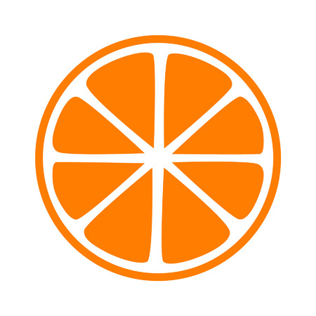 Orange half slice flat icon for apps and websites