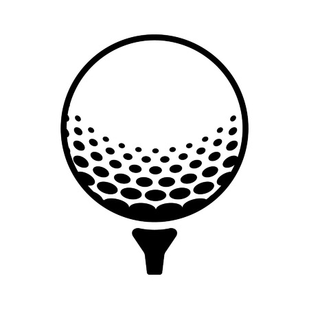 balones deportivos: Golf ball on pin line art icon for sports apps and websites