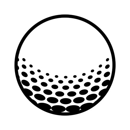 golf ball on tee: Golf ball line art icon for sports apps and websites