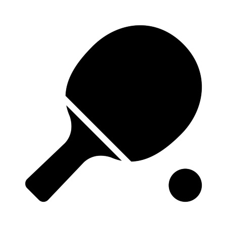Ping pong table tennis paddle with ball flat icon