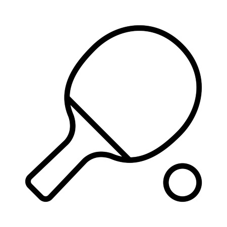 Ping pong table tennis paddle with ball line art icon Çizim