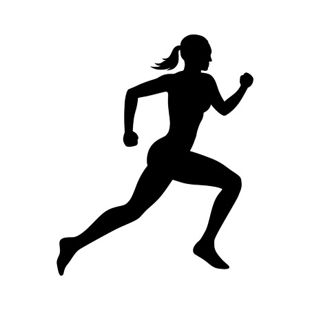 Running woman flat icon for exercise apps and websites Zdjęcie Seryjne - 42411165