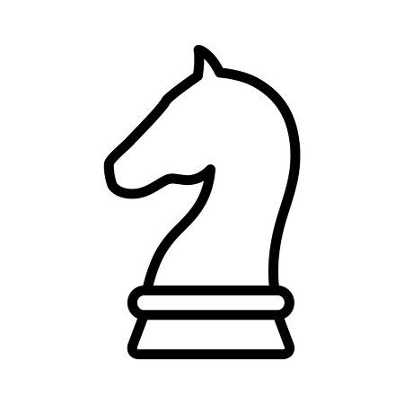 Knight chess piece line art icon for apps and websites
