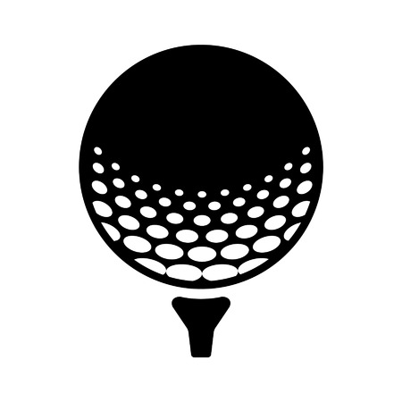 Golfbal op pin vlakke icoon voor sport apps en websites Stock Illustratie
