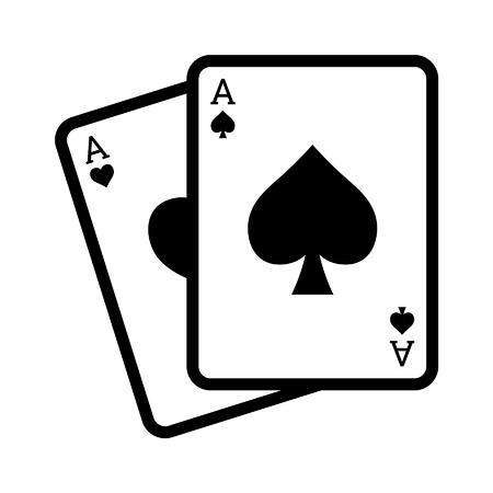 blackjack: Blackjack poker cards with aces line art icon