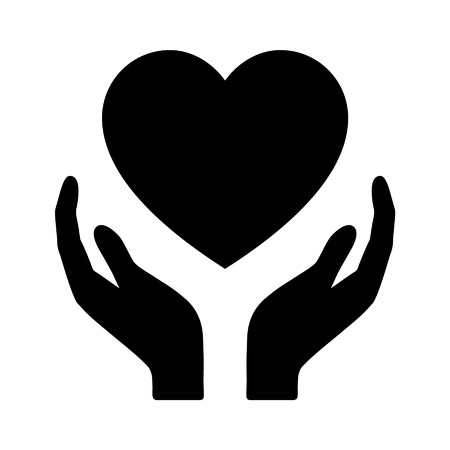 vektor: Gesundheitswesen Hände, die Herzen Flach Symbol für Apps und Website