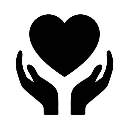 juntos: manos sosteniendo el corazón del icono de la salud plana para aplicaciones y página web