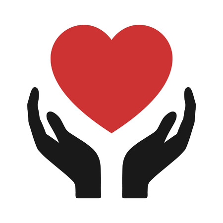 charity: Healthcare hands holding heart flat icon for apps and website