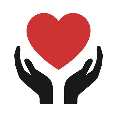 Mani che tengono Healthcare icona piatto cuore per le applicazioni e il sito web Archivio Fotografico - 42410152