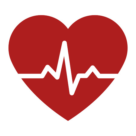 Heartbeat pulse flat icon for medical apps and websites Illustration