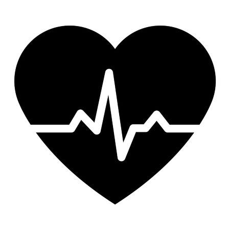 heart monitor: Heartbeat pulse flat icon for medical apps and websites Illustration