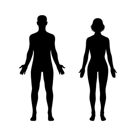 silhouette femme: Homme et femme corps humain ic�ne � plat pour l'application et le site Web Illustration