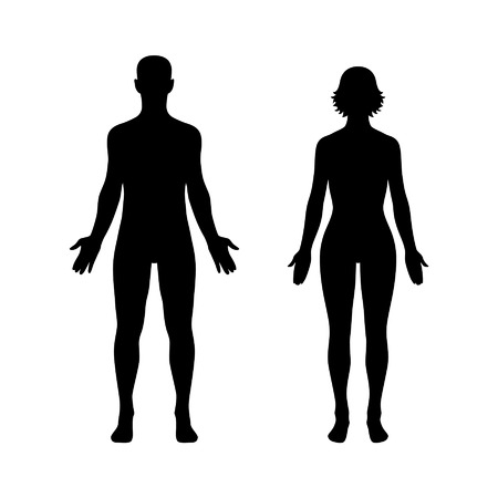 men standing: Man and woman human body flat icon for app and website