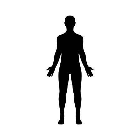 black outline: Male human body flat icon for app and website Illustration
