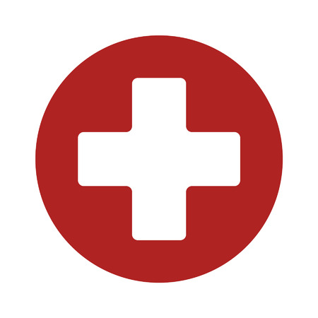 ems: First aid medical sign flat icon for app and website Vectores