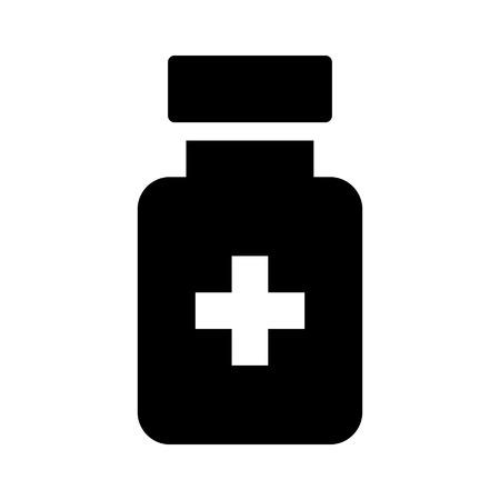 vial: Medication drug bottle flat icon for apps and websites Illustration