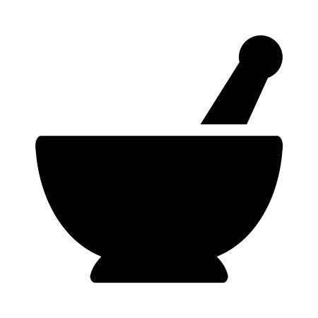 mortero: Icono plana farmacia Mortero y maja de aplicaciones y sitios web Vectores