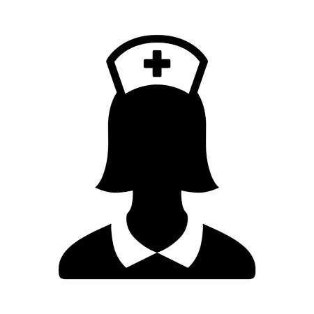 medical assistant: Nurse or medical assistant flat icon for apps and websites Illustration