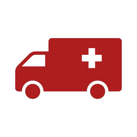 ems: Icono plana cami�n ambulancia de emergencia para aplicaciones y sitios web