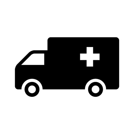 Emergency ambulance truck flat icon for app and website